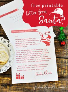 Letter from santa, free printable from frostedevents. Grab these cute free printable letter from Santa and give your child a little more Christmas magic Free Printable Santa Letters, Free Letters From Santa, Letters For Kids, Free Christmas Printables, Free Printables, Party Printables, Christmas Letter From Santa, Christmas Letter Template, Christmas Ideas