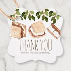 Shop Cute smores camping kid birthday favor tag created by Writelovely. Camping Party Favors, Party Favors For Kids Birthday, Camping Parties, Birthday Thank You, Birthday Parties, Camping Party Decorations, Frozen Birthday, 9th Birthday, Party Favor Tags