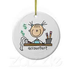 Accountant Stick Figure Christmas Tree Ornament
