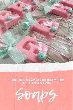 Pink aromatic glycerin soaps in monogram shape, made for baptism favor gift!!! Αρωματικό σαπούνι μονόγραμμα σε κρεμαστή μπομπονιέρα βάφτισης. Baptism Favors, Icing, Soap, Monogram, Christening Gifts, Monograms, Baptism Party Favors, Soaps