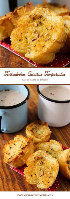 Torradas Temperadas com Manteiga, Alho e Orégano #receita #torradas #cafédamanhã  #pão
