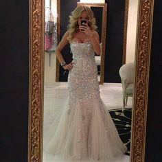 I need to know where to find this dress! Fit n' Flare wedding dress, Mermaid wedding gown.. Does anyone know who makes this dress? #Glitter #Sparkle #Sexy