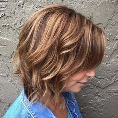 Over Brown Bob With Caramel Highlights