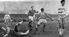 Bedford Town 0 Carlisle Utd 3 in Jan 1964 at the Eyrie. Frank Kirkup scores for Carlisle in the FA Cup 4th Round.