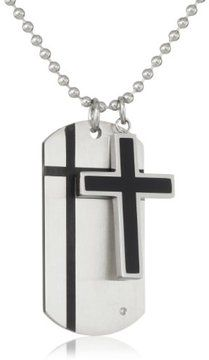 Cold Steel Stainless Steel Black Immersion Plate Cross and 0.01Ct Diamond Dog Tag Men's Pendant Necklace on shopstyle.com