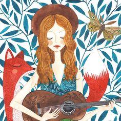 Oana Befort. Fuchs Illustration, Watercolor Illustration, Watercolor Paintings, Folk Art Flowers, Pottery Painting Designs, Modern Art Deco, Learn Art, Whimsical Art, Cute Art