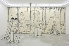Jim Shaw, Crystal wall mural with crystal panel sculptures