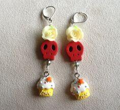 Dia de los muertos earrings rose cupcake earrings by QUEENBEADER, $23.25