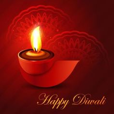 Free vector happy Diwali red glowing diya logo with traditional design pattern…
