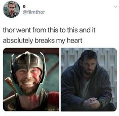 And in Ragnarok he had lost already his hammer and parents Marvel Funny, Marvel Memes, Marvel Dc Comics, Avengers Shield, Marvel Avengers, Loki Thor, Marvel Characters, Chris Hemsworth, Marvel Cinematic Universe
