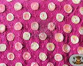 Guipure Rose Sequin Fabric PINK GOLD
