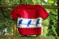 Birds on a Wire.  This fun sweater can be done in long or short sleeves and is perfect for either boys or girls.  By Flora and fauna Knitwear Designs