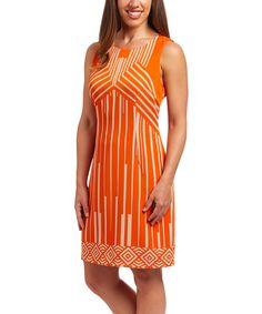 Another great find on #zulily! Orange & Beige Geometric Sheath Dress by ILE New York #zulilyfinds