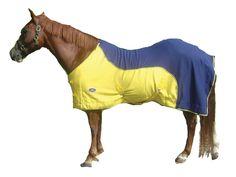 """Derby Originals Designer Horse Fleece Sheet & Blanket Liner, Navy/Yellow, 72""""/240g"""