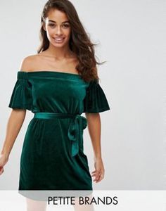 Boohoo Petite Velvet Off The Shoulder Dress