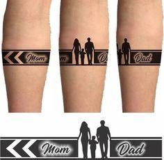 Mom Dad Tattoo Designs, Mom Dad Tattoos, Band Tattoo Designs, Armband Tattoo Design, Wrist Tattoos For Guys, Mother Tattoos, Small Tattoos For Guys, Family Tattoos, Tattoo Dad