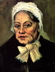 Vincent van Gogh - Head of an Old Woman with White Cap The Midwife  (1885)