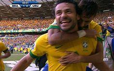 Fred comemora Brasil 1, Uruguai 0, primeiro tempo em 2606/2013.