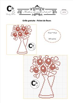 Grille gratuite point de croix - Pichet de fleurs