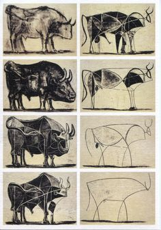 Picasso's bulls. when i was a teacher, i did a lesson on abstraction with photocopies of these bulls.