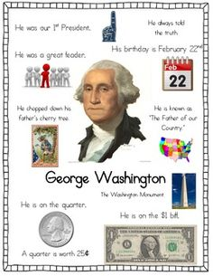 Presidents of Mount Rushmore - Fact Posters by Jen Wood George Washington Costume, George Washington Facts, George Washington Education, George Washington Preschool, George Washington Biography, Kindergarten Social Studies, Teaching Social Studies, In Kindergarten, History Projects