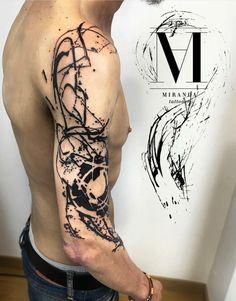 Tattoo Trends – Abel Miranda based in Barcelona, Spain – Tattoo Designs Black Tattoos, Body Art Tattoos, New Tattoos, Tattoos For Guys, Sleeve Tattoos, Unique Tattoos, Beautiful Tattoos, Abstrakt Tattoo, Brush Tattoo