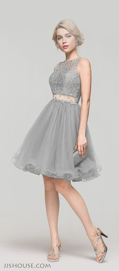 This A-line scoop neck knee-length tulle lace Homecoming dress looks like a two-piece from the front, but actually it is one-piece! You will love its unique design. #JJsHouse