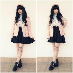 Stradivarious Pink Jacket, Primadonna Black Boots