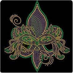 Mardi Gras Fleur De Lis Rhinestone Heat Transfer Iron On Applique