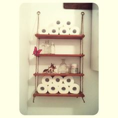 DIY rope shelves Made from an old cd unit, drill some holes, measure and knot rope. Diy Bathroom Decor, Bathroom Shelves, Bathroom Ideas, Rope Shelves, Shelving, Diy Projects To Try, Wood Crafts, Sweet Home, Organization