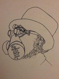 Ink portrait of my steampunk doctor friend from www.frocktopus.blogspot.co.uk