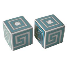 Jonathan Adler Greek Key Salt & Pepper Shakers - Funky and chic, their turquoise and white Greek Key pattern emits a glam persona outlined in real platinum.