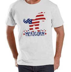 Men's 4th of July Shirt - Funny Mericorn White T-shirt - American Flag Unicorn 4th of July Party Shirt - Funny Patriotic Independence Day