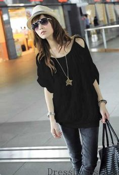 Women Black Cotton Off Shoulder Ruffled Loose Short Shirt One Size @H4085b