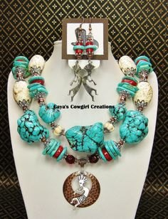 Howlite TURQUOISE COWGIRL NECKLACE Set by CayaCowgirlCreations, $60.50