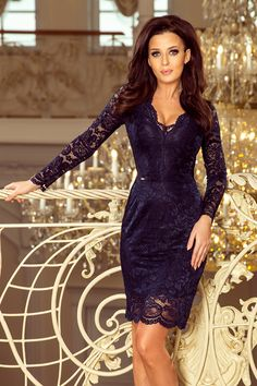 Shop this sexy navy blue lace bodycon midi dress from Numoco, perfect for a wedding or the races + buy now, pay later with Klarna. Beige Maxi Dresses, Sexy Dresses, Fashion Dresses, Elegant Cocktail Dress, Bleu Marine, Blue Lace, Navy Blue, Lace Dress, Lace Skirt
