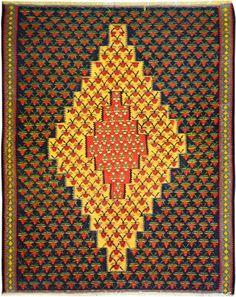 "Multi-colored Persian Kilim 3' 9"" x 4' 9"" (ft) http://www.alrug.com/10098"