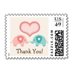 Twin Elephants Baby Shower Thank You Postage Stamps