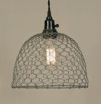Our half gallon caged mason jar pendant comes with a 15½ foot black cloth-covered lamp cord with switched socket, two finished ceiling hooks, two cord clamps for adjusting the height of the lamp and e