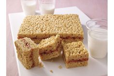 There's nothing better than a PB&J sandwich. Unless it's PB in ooey-gooey marshmallow crispy treats with J sandwiched in the middle. Well played, Mom.