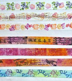 handgefärbte Bänder, mit Ministempeln verziert