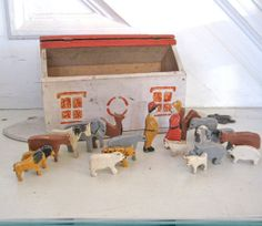 Vintage Noah's Ark   Folk Art  Toy Animals by fishlegs on Etsy