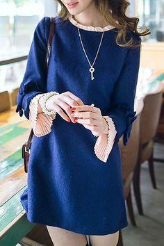 Sweet Ruffled Collar Long Sleeve Faux Twinset Pleated Spliced Dress For Women