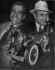 Al Capone and Lucky Luciano with Al's 1931 Caddy commissioned piece done in graphite and ink Gangster Tattoos, Gangster Films, Mafia Gangster, Tattoo Sleeve Designs, Sleeve Tattoos, Italian Gangster, Tattoo Mafia, Card Tattoo, Tattoo Ink