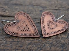 Folksy large copper heart earrings by AlisonMooreDesigns on Etsy, £28.00