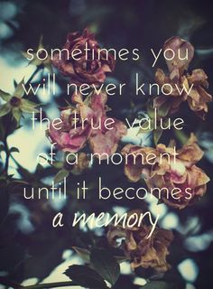 Sometimes you will never know the true value of a moment until it becomes a memory. Create a slide.ly to cherish your moments  http://slide.ly/gallery/view/6359c7f383e4c0f63ecab96e9b5fbd06