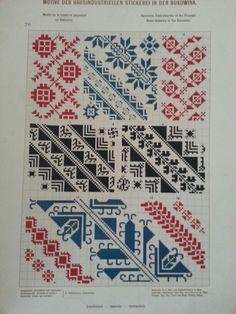 Stickerei aus Bukowina Cross Stitch Geometric, Cross Stitch Borders, Cross Stitch Art, Cross Stitch Samplers, Cross Stitching, Cross Stitch Patterns, Folk Embroidery, Cross Stitch Embroidery, Embroidery Patterns