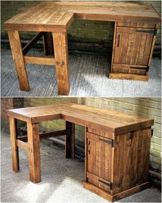 Pallet Table Plans pallet pc table idea - There are some materials available that can be reused just like the wood pallets as they are simple to recycle and create the items that. Recycled Pallets, Wooden Pallets, Wooden Diy, Outside Furniture, Wood Pallet Furniture, Furniture Ideas, Crate Furniture, Diy Pallet Projects, Wood Projects