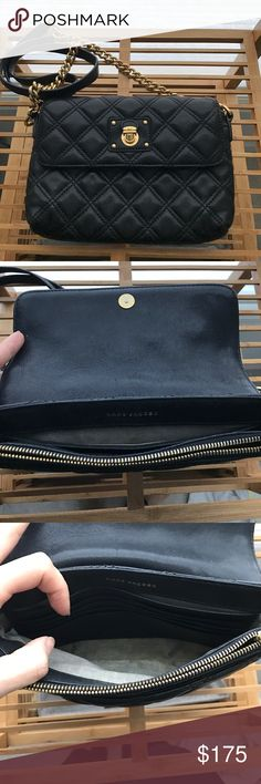 "Marc jacobs ""The Single"" quilted crossbody Preloved Marc jacobs quilted crossbody. Soft black leather with gold hardware.  No tears or odors. Outside is in great condition but inside flap has some scratching and internal pockets have discoloration at seams. (Please see pictures). Selling as is condition so can take additional pictures at buyers request. Marc Jacobs Bags Crossbody Bags"