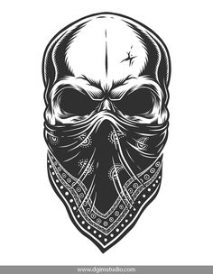 Vintage monochrome gangster skull with the bandana on his face. Created with the Skull creator. Click to the link and find a way how to create your own design of the Skull. Thousands of combinations! #skull #vectorillustration #vector#illustration #design #tshirt #apparel#appareldesign #dgimstudio #gangster #criminal #bandit #bandana